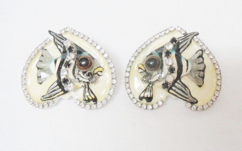 """/""""Lunch at the Ritz/""""  Kaiser Building Bouillon Crystal Rhinestones Post Earrings"""