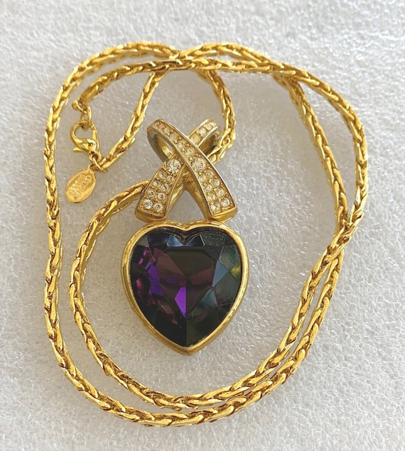 Vintage Signed Nolan Miller Gold Necklace with Purple and Crystal Pendant