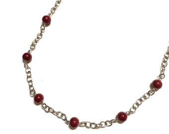 Necklace. Layer. Red / Maroon. Silver Chain.