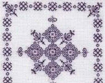 Roses – Geometric Blackwork kit. Monochrome design using black thread. 18 count Aida fabric. Complete Kit, English Instructions. 10cm square