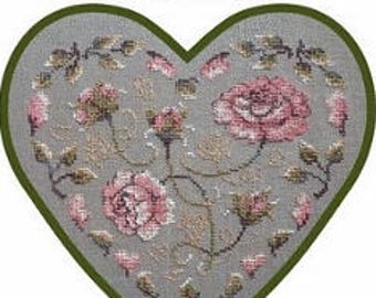 Rose Heart – counted cross stitch chart, Roses in a Heart. Chart to work in 6 colours of DMC thread or The Gentle Arts Thread. Roses.