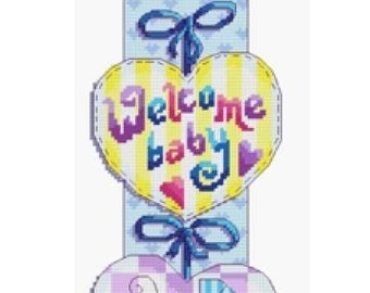 Baby Hearts Cross Stitch Kit, New Baby Sampler, 14 count fabric, complete kit, Personalise with baby birth details