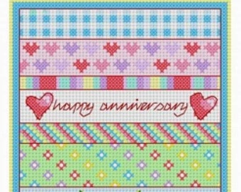 Anniversary Patchwork, Cross Stitch Kit, Wedding Anniversary, Personalise Names and Dates, Aida, Anniversary Sampler.  Modern Sampler