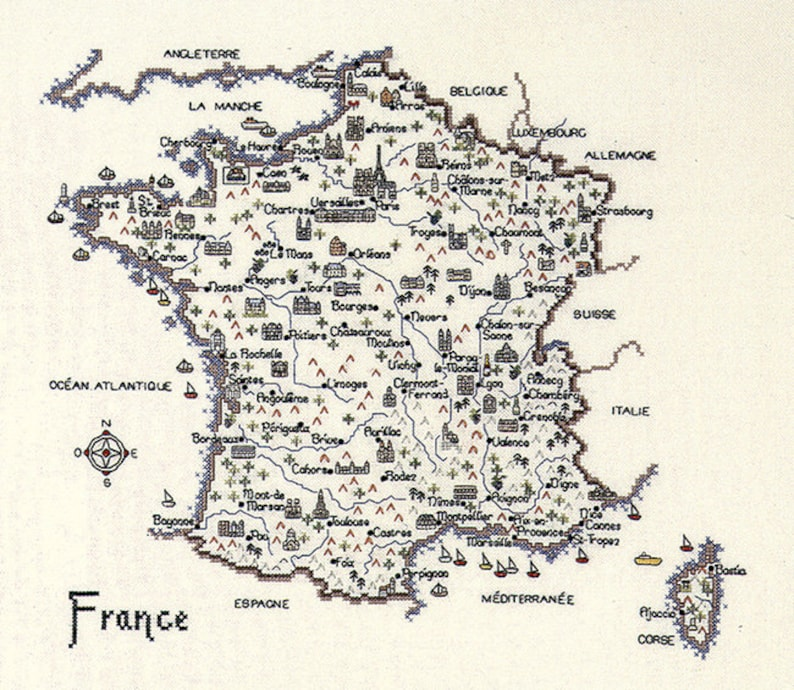 Map of France Cross Stitch chart Counted cross stitch chart. image 0