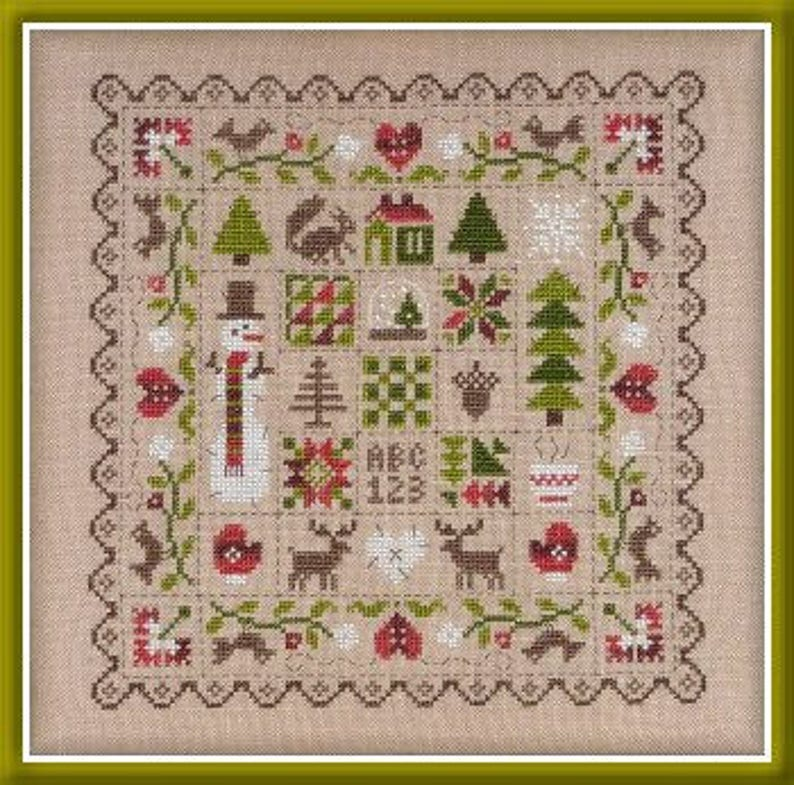 Winter Patchwork  counted cross stitch chart to work in 7 image 0