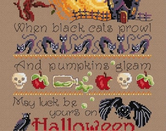 When Black Cats Prowl Halloween Sampler – counted cross stitch chart.
