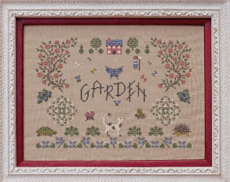 Garden Jardin  counted cross stitch chart. Chart and key in image 0