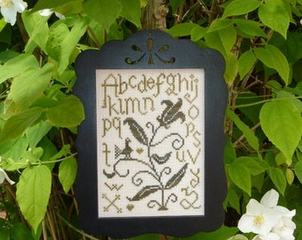 ABC Tulip Sampler – counted cross stitch chart. Small cross stitch sampler. Tulip and Alphabet can be worked in hand dyed threads.