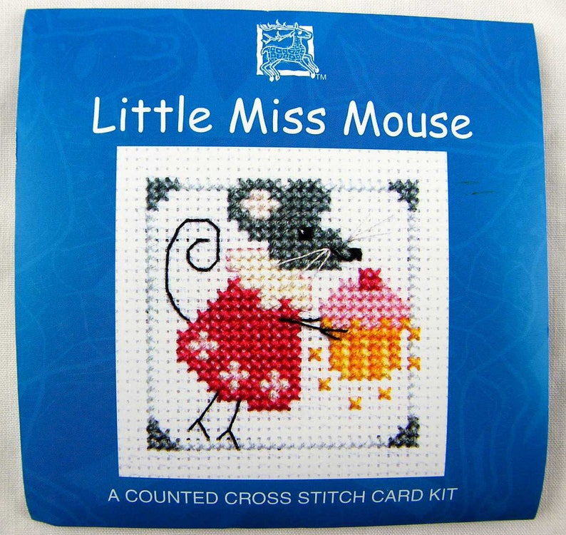 Little Miss Mouse Miniature Card Kit in Counted Cross Stitch. image 0