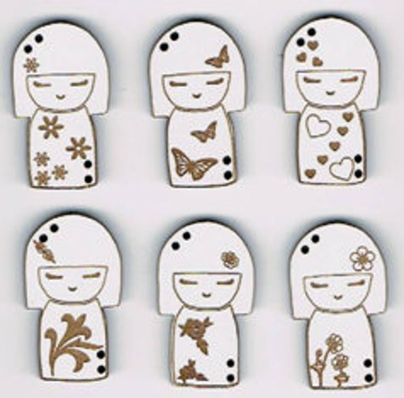 Kokeshi Japanese Doll shape buttons  Set of 6 decorative image 0