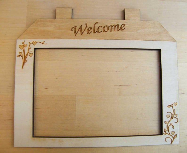 Welcome  Bienvenue Wooden House Shape Frame. Rectangular image 0