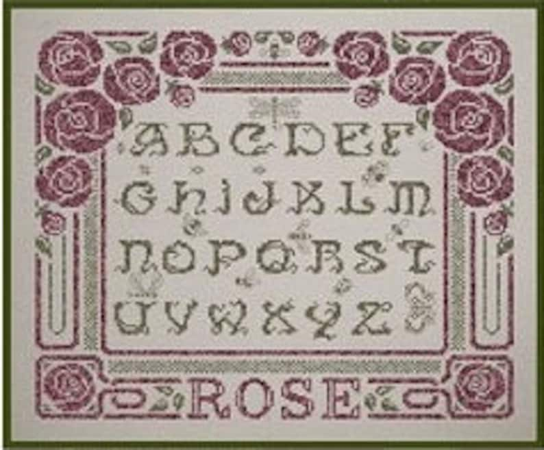 Art Deco Roses  counted cross stitch chart ABC Art Deco image 0