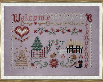 Welcome, Bienvenue, counted cross stitch chart or special stitches version. 8 thread colours GAST or DMC.  French or English versions.