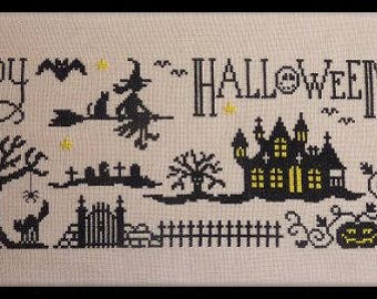 Happy Halloween Night – counted cross stitch chart to work using black, yellow and white DMC thread.  Halloween design. Trick or Treat.