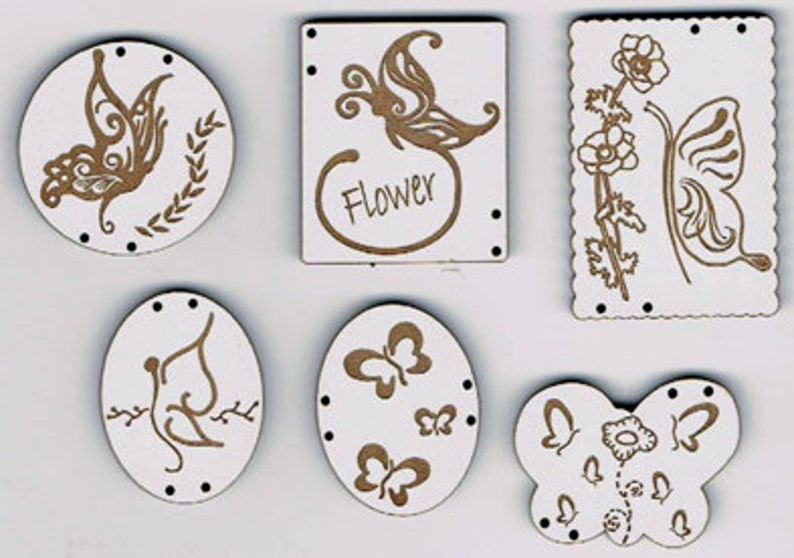 Butterflies and Flowers  Set of 6 buttons made from MDF with image 0