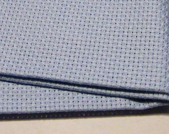14 count sky blue Aida - Cut Piece 45 x 45 cm.  Use for cross stitch embroidery fabrics.  Brand new piece cut from the roll.  Sky Blue Aida