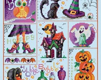 Halloween Sampler – counted cross stitch chart.