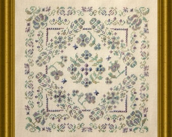 Blossom Time, La Floraison, counted cross stitch chart.  Geometric design.  2 thread colours or use a variegated thread of choice.