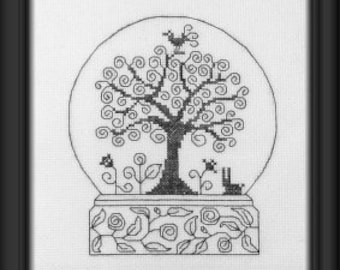 Doodle Ball Snowglobe design – counted cross stitch chart. Monochrome design in black, blue or red thread. Modern Blackwork.