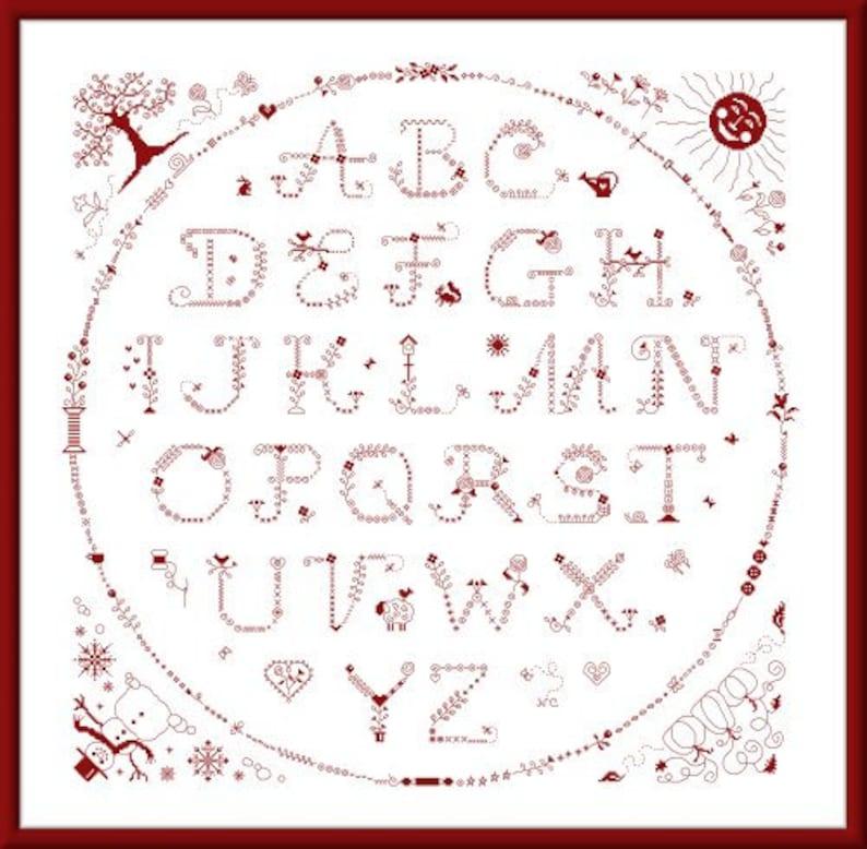 ABC Circle  cross stitch chart to work in monochrome. Cross image 0