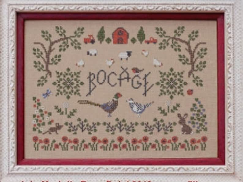 Bocage  counted cross stitch chart. Chart and key in English image 0