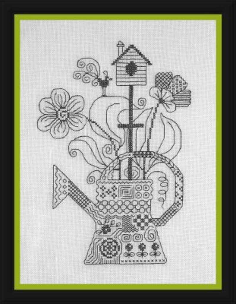 My Watering Can Mon Arrosoir  counted cross stitch chart. image 0