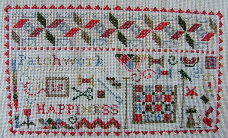 Patchwork is Happiness  counted cross stitch chart to work in image 0