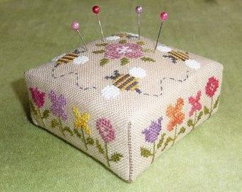 Flower Border Pincushion – printed counted cross stitch chart. Square Pincushion pattern.