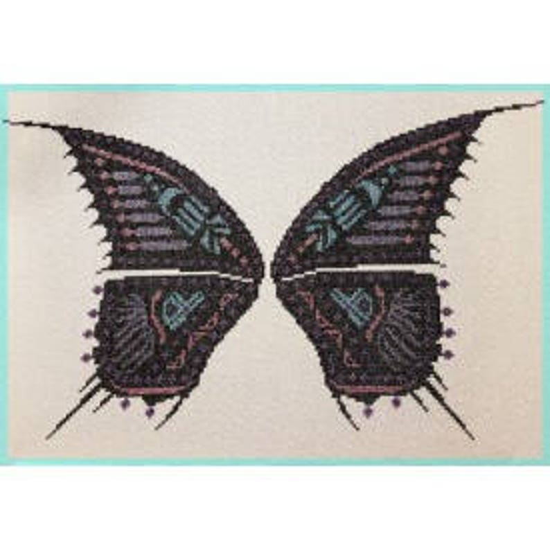 Stained Glass Butterfly French Cross Stitch Chart. only. Uses image 0