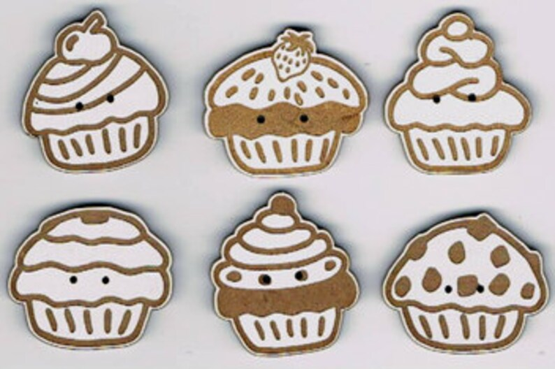 Cupcakes  Set of 6 decorative buttons made from MDF with image 0