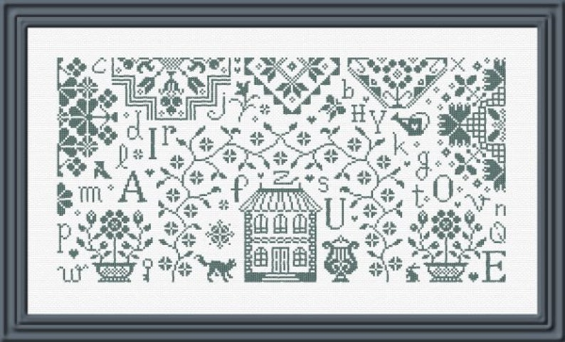 ABC Quaker Sampler  counted cross stitch chart to work in image 0