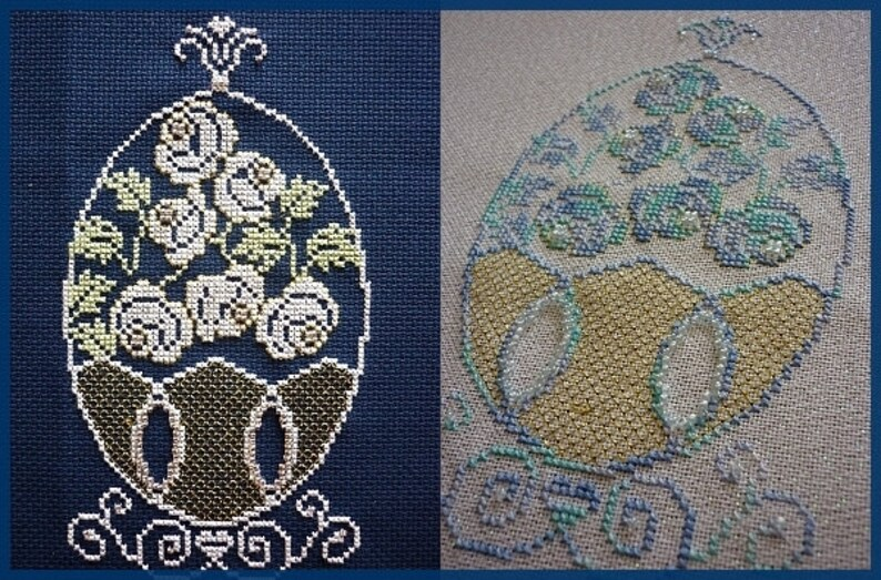 Faberge Egg with Roses French Cross Stitch Chart. only. Uses image 0