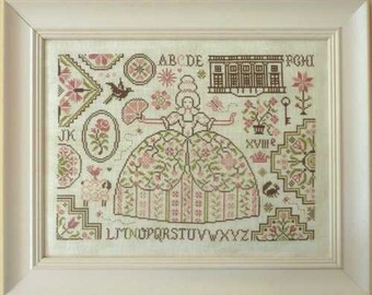 Quaker Marchioness - printed chart for counted cross stitch. Traditional Quaker motifs with a lady, sheep, Alphabet, palace of Versailles.