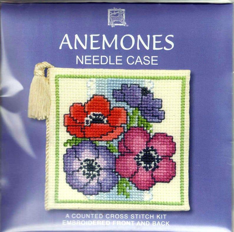 Anemones Counted Cross Stitch Needlecase Kit. Anemone Flowers. image 0