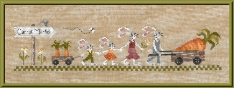 Carrot Market  counted cross stitch chart. Cute design with image 0