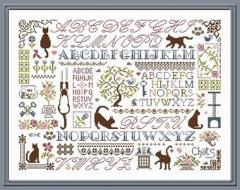 Cats Sampler counted cross stitch chart to work in 8 colours or monochrome.