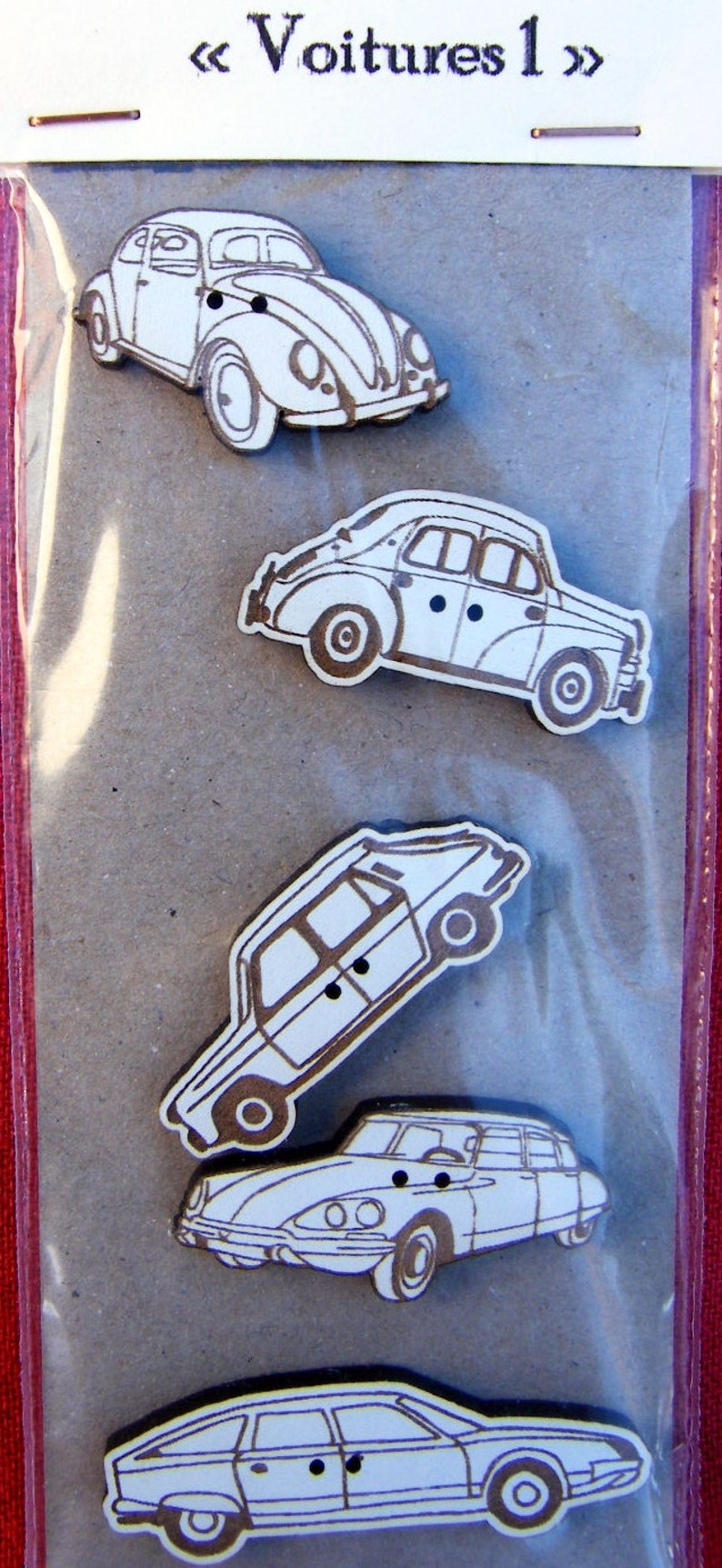 Cars 1  Set of 5 decorative buttons made from MDF with white image 0