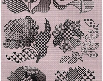 Blackwork Flowers counted Blackwork chart in colour, 6 Blackwork flowers to stitch.
