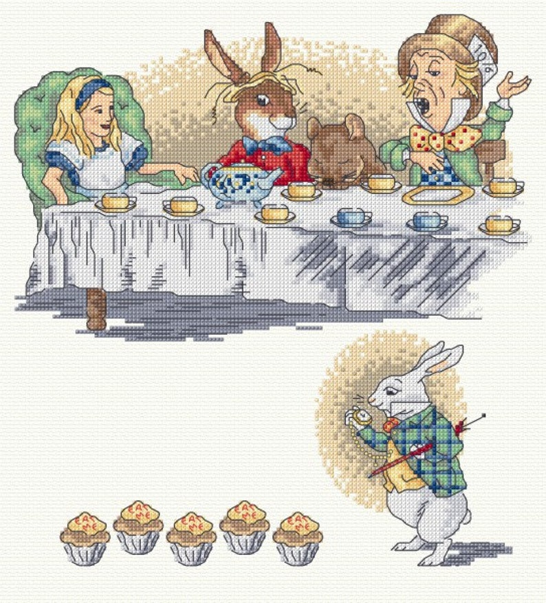Alice in Wonderland counted cross stitch set of 3 charts. image 0