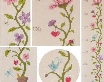 Flowers Height Chart. Counted cross stitch chart.