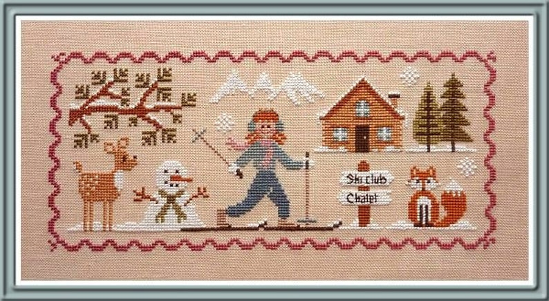 Lili Skiing  counted cross stitch chart to work in 13 colours image 0
