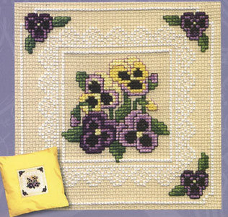 Victorian Pansies Counted Cross Stitch Kit. Pansy Picture. image 0