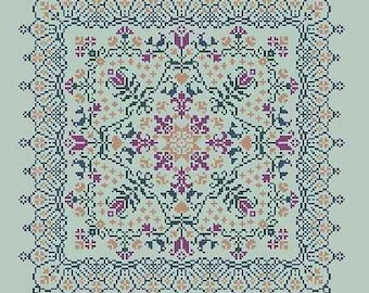 Midnight Garden, Jardin de Minuit, counted cross stitch chart.  Geometric design.  4 thread colours or use a variegated thread of choice.