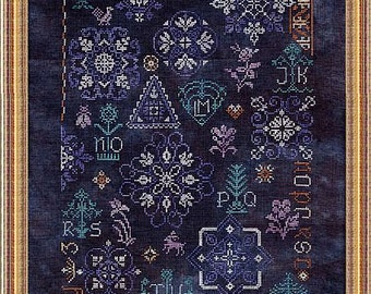 Cotillon Sampler, Counted Cross Stitch Chart.  ABC Sampler.  Cross Stitch Sampler
