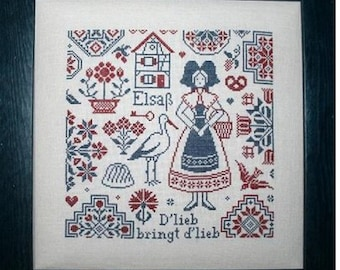 Alsace Quaker - Quaker Alsacienne - Chart for counted cross stitch.  Traditional Quaker motifs with a theme of Alsace, France