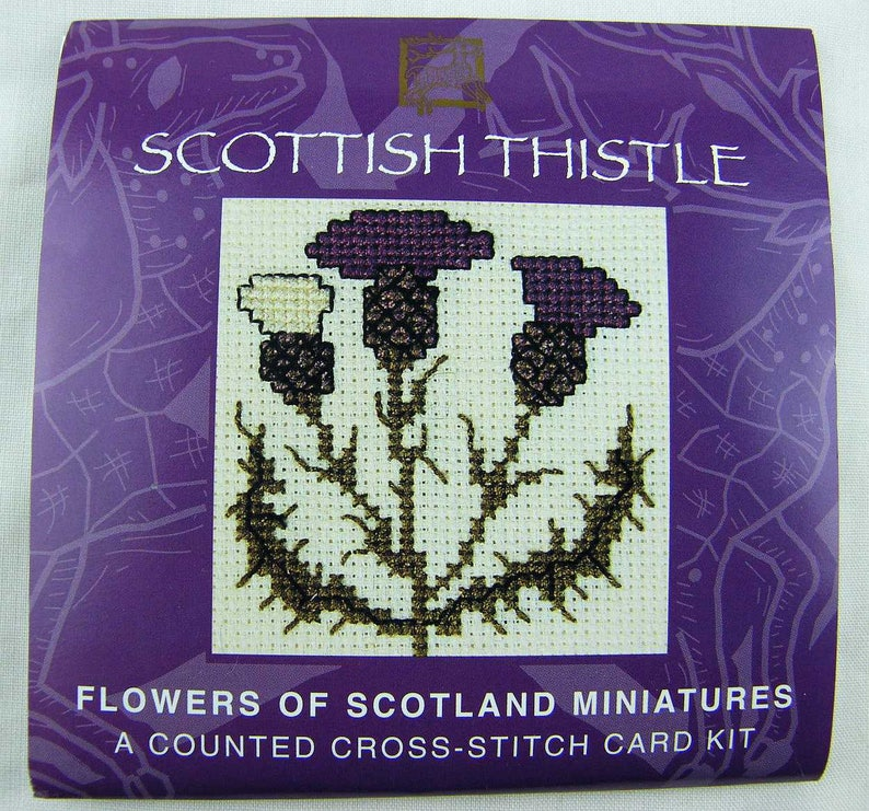 Scottish Thistle Miniature Card Kit in Counted Cross Stitch. image 0