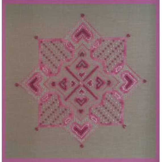 site réputé 674a2 282e3 Pink Star, French counted cross stitch chart uses DMC Diamant thread, Fils  a Soso hand dyed thread, Swarovski and Mill Hill beads.