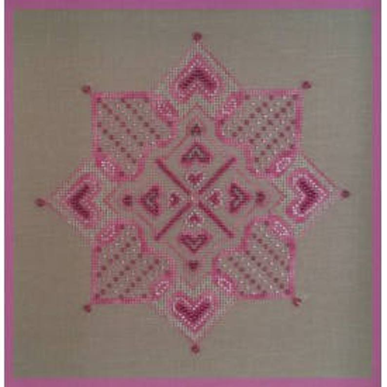 Pink Star, French counted cross stitch chart uses DMC Diamant thread, Fils  a Soso hand dyed thread, Swarovski and Mill Hill beads