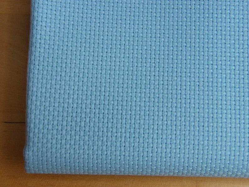 14 count duck egg blue Aida Zweigart  Cut Piece 50 x 55 cm. image 0