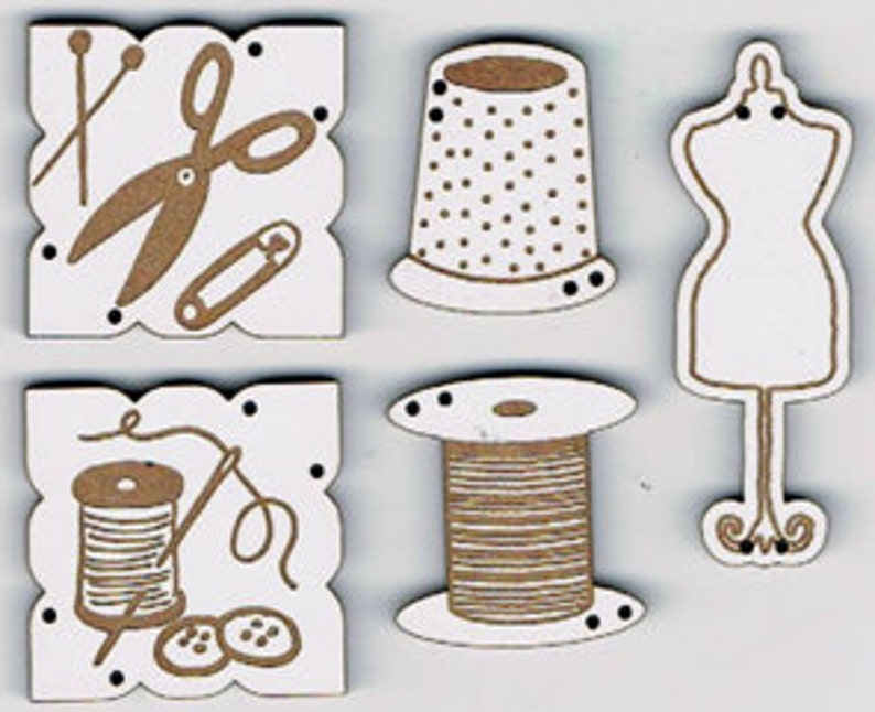 Couture 2  Set of 5 decorative buttons laser cut from MDF image 0